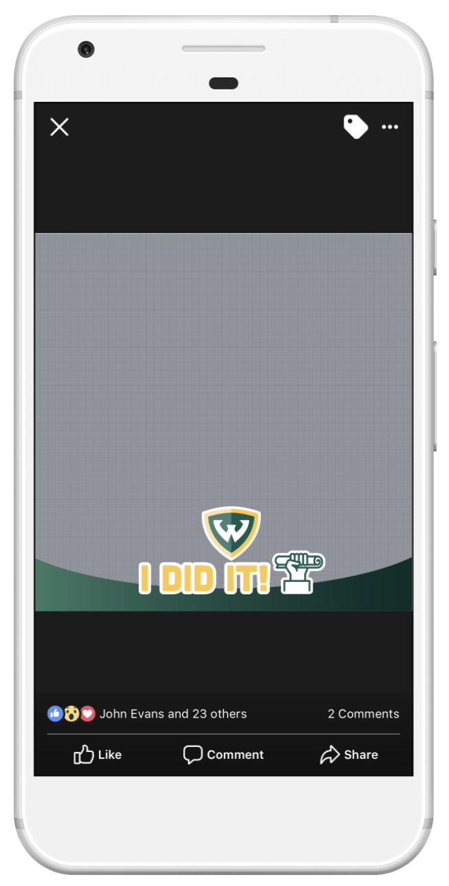 Screenshot of Facebook frame with I did it text