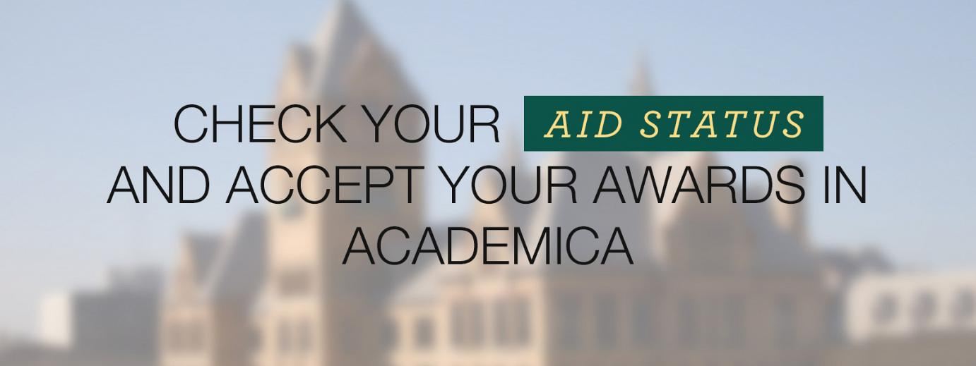Check your financial aid status in Academica