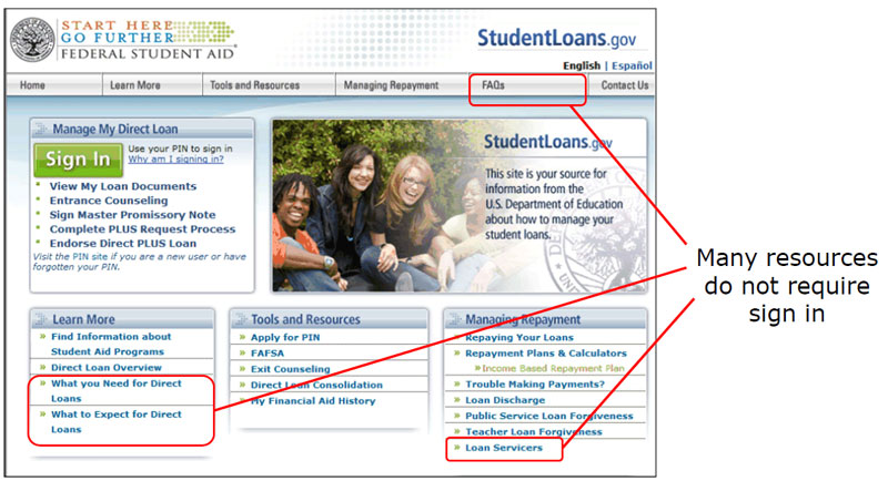 Studentloans.gov Screenshot