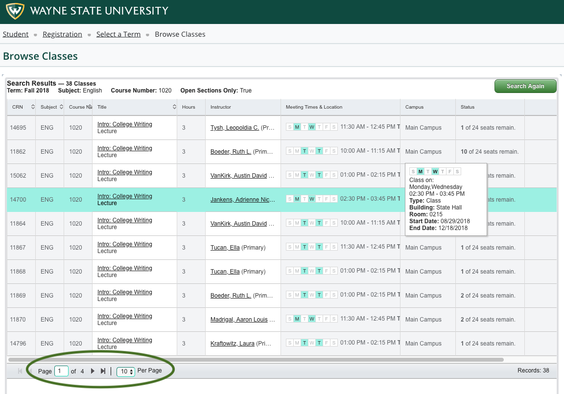 How to browse for classes - Office of the Registrar - Wayne
