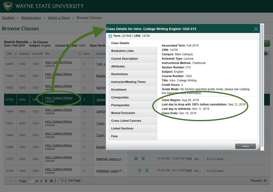 How to browse for classes - Office of the Registrar - Wayne State